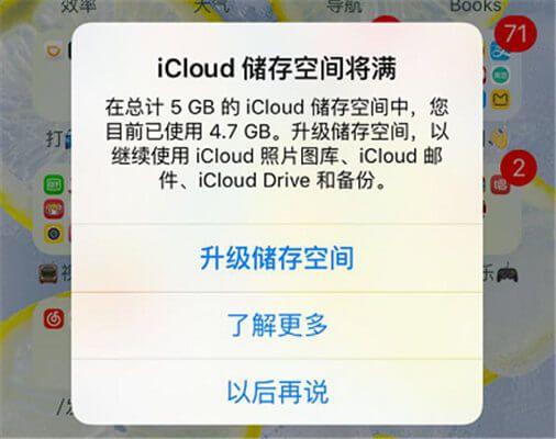没有进行过iCloud备份,为什么提示iCloud空间已满?
