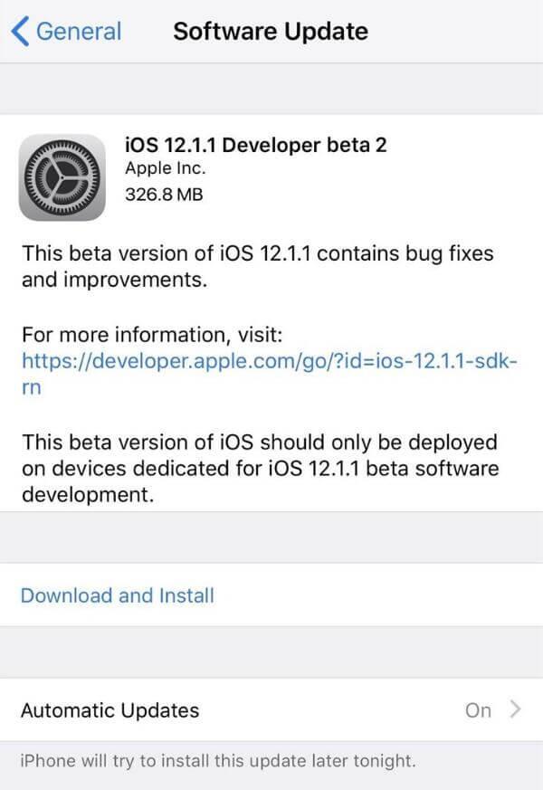 苹果推送iOS 12.1.1 beta 2:主要进行性能提升与BUG修复